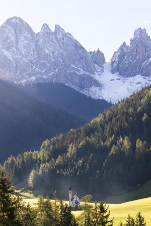 Italy, near Bolzano, Val di Funes, St. Magdalena and Dolomites