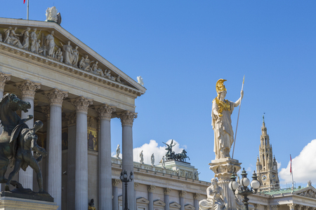 Parliment building & statues, Vienna, Austria Stok Fotoğraf