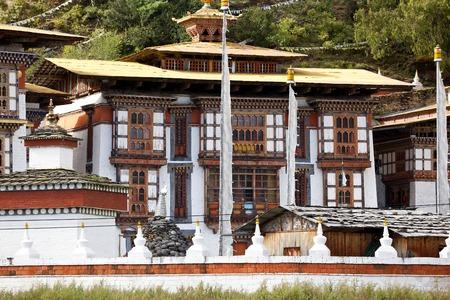 Kurjey Lhakhang monastery nr Jakar, Bumthang Valley, Bhutan Stok Fotoğraf