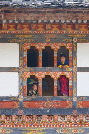 Bhutan - October, 2011: Tshechu Festival at Wangdue Phodrang Dzong Wangdi Bhutan