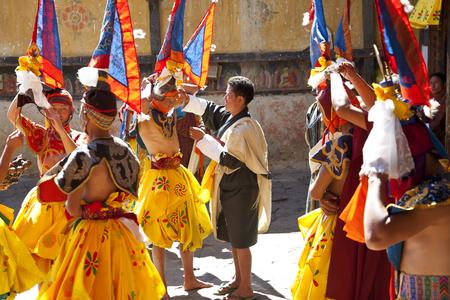 Bumthang, Bhutan - October, 2011: Tamshing Phala Chhoupa festival, Tamshing Monastery, nr Jakar, Editöryel