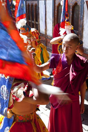 Bumthang, Bhutan - October, 2011: Tamshing Phala Chhoupa festival, Tamshing Monastery, nr Jakar, Bumthang, Bhutan