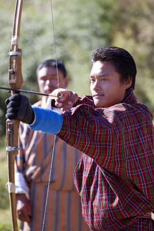 Bumthang Valley, Bhutan - October, 2008: Archery is the national sport of Bhutan since 1971 when Bhutan joined the United Nations.