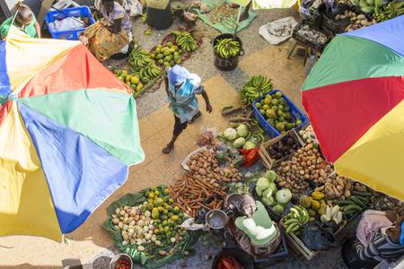 Santiago Island, Cape Verde - March, 2013: African market at Assomada,