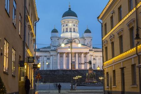 Helsinki, Finland - February 2014: Lutheran cathedral, at dusk, Helsinki, Finland Editöryel