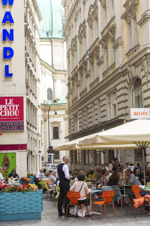 Vienna, Austria - May, 2013: Outdoor restaurant & cafe, Editöryel