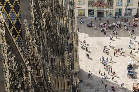 Vienna, Austria - May, 2013: St Stephens Cathedral & main square, Vienna, Austria Editöryel