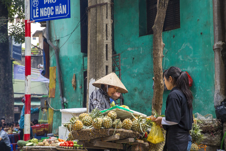 Hanoi, Vietnam - March, 2014: Fruit and vegetable market in Hanoi, Vietnam