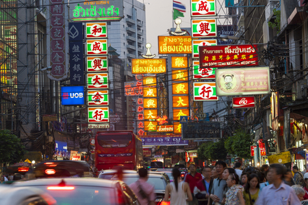 Bangkok, Thailand - February, 2013: Chinatown at dusk, Editorial