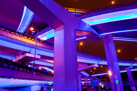Illuminated flyovers, Shanghai, China
