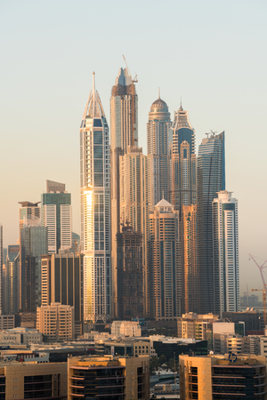 Skyline of modern skyscrapers in Marina district of Dubai, United Arab Emirates