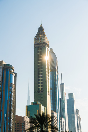 View of downtown Dubai, skyscrapers, modern architecture, Sheikh Zayed Road, Dubai, United Arab Emirates