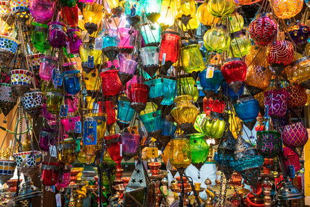 Arabic lamps, market, Dubai, UAE, United Arab Emirates Banco de Imagens