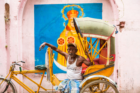 Cycle rickshaw driver, Chennai, (Madras), India Editorial