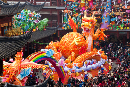 Chinese dragon & Chinese New Year celebrations, Yuyuan Gardens shopping area, Shanghai, China