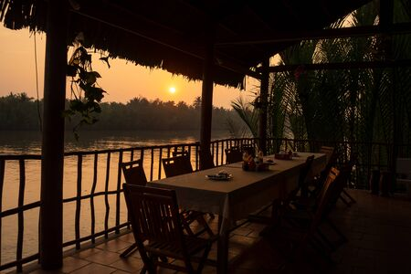 Sunset at a restaurant by the Megong Delta, Vietnam