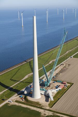 Aerial view of the construction of wind turbine, North Holland, The Netherlands
