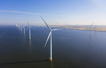Aerial view of wind turbines at sea, North Holland, Netherlands Stock Photo