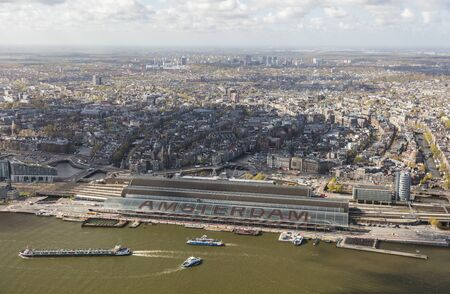 Aerial view of Amsterdam with Amsterdam Central Railway station, Netherlands