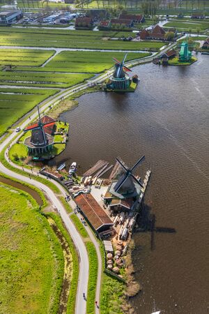 Aerial view of windmills in Zaanse Schans, Netherlands Stock Photo