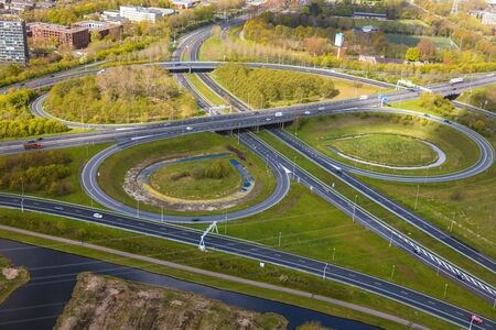 Near Amsterdam, The Netherlands. Aerial view of road junctions Stock Photo