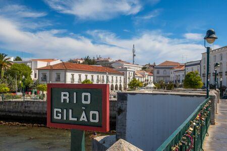 Sign at the bridge over the Gilao river in Tavira, Algarve, Portugal