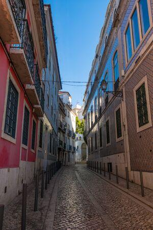Narrow back streets of Lisbon, Portugal