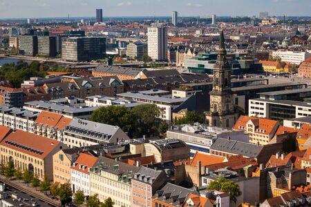View from above of Copenhagen, Denmark's capital city, Scandinavia
