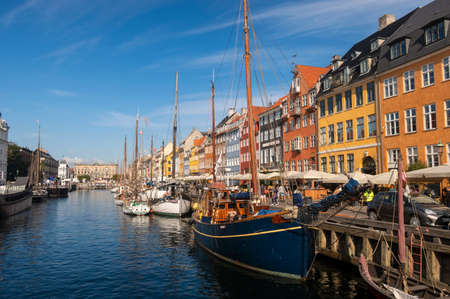 The 17th century waterfront of Nyhavn in the Old Town of Copenhagen, Denmark