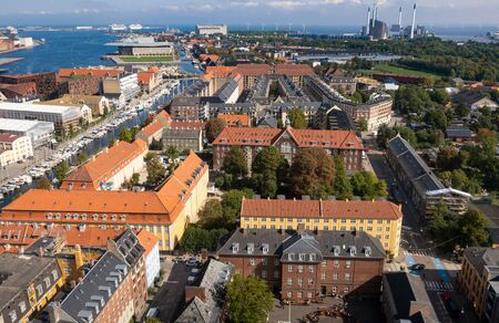 Aerial view of Copenhagen with Amager Bakke Power plant in the background, Denmark, Scandinavia