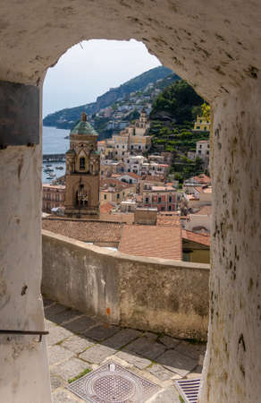View of Amalfi town in Salerno, Campanis, Italy Stok Fotoğraf