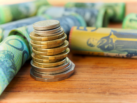 Stacking of Australia coins for saving money concept Stock Photo