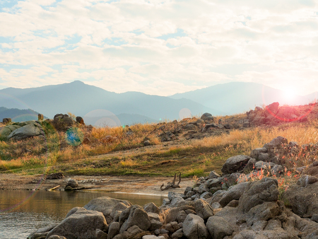 flit: Landscape  river cape in sunset