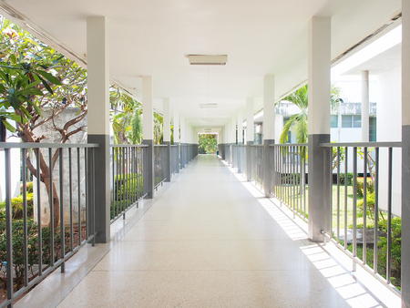 Perspective of walk way in hospital Stock Photo