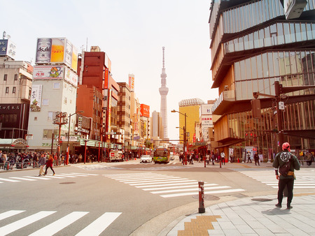 Tokyo,Japan-April 09,2017, View of tokyo skytree tower famous destination and downtown city in asakusa.