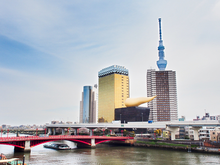 Tokyo,Japan-April 09,2017, Tokyo skytree tower and Asahi beer hall modern structure  landmark in japan near sumida river.