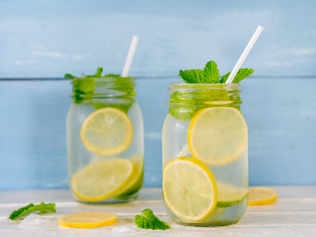 Fresh iced lemonade with mint leaf in glass for summer drink.