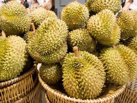 Durian king of fruit in Thailand sale at market. Banco de Imagens