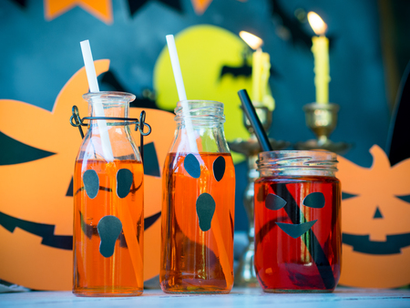 Halloween party celebration,pumpkin drink.