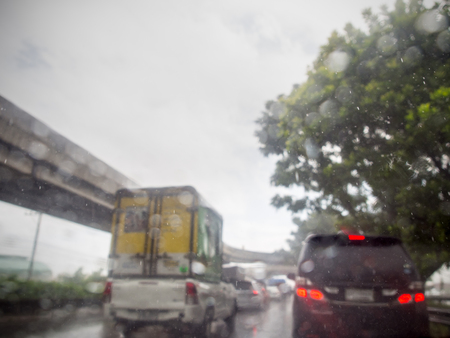 Traffic jam in rainy day.