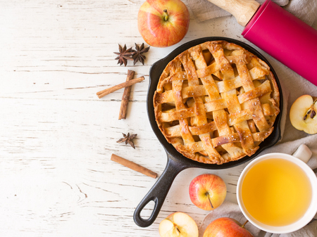 Homemade apple pie  pastry in autumn season on whtie wooden table,sweet and dessert concept with copy space for text.