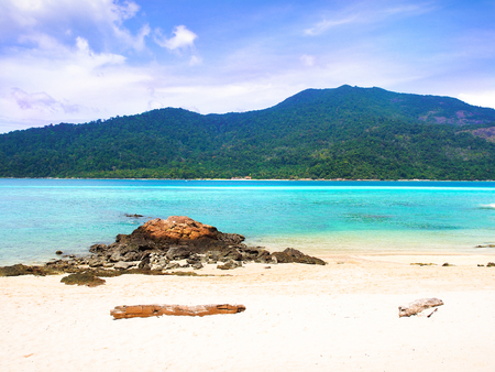 White sand beach and blue sea with clear sky in sunny summer day for holiday or vacation concept,Koh Lipe ,Thailand. Stock Photo