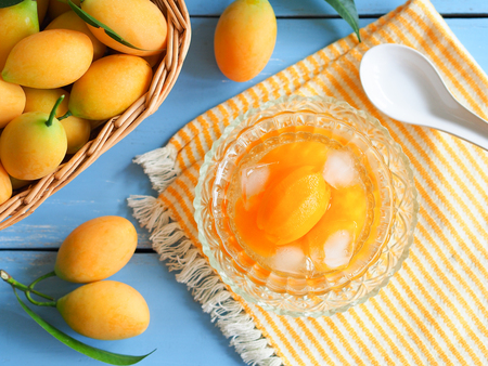 Marian plum or plango fruit in syrup serve with ice, Thai dessert in summer season. Stock Photo - 98302540