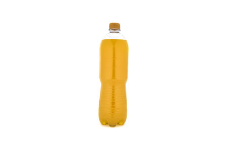 carbonated: Carbonated beverage in the bottle on white background