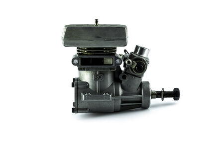 Rc helicopter engine on white background photo