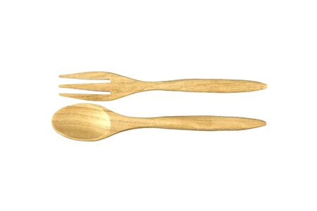 white back ground: Wood spoon and fork on white back ground Stock Photo