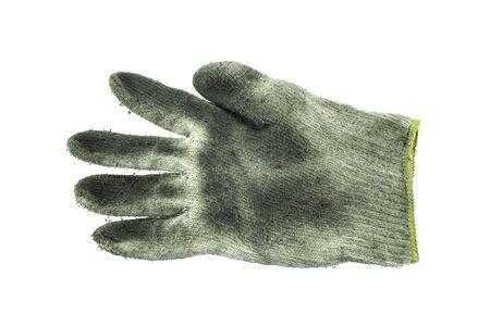 empleadas domesticas: Guantes sucios tejidas en el fondo blanco