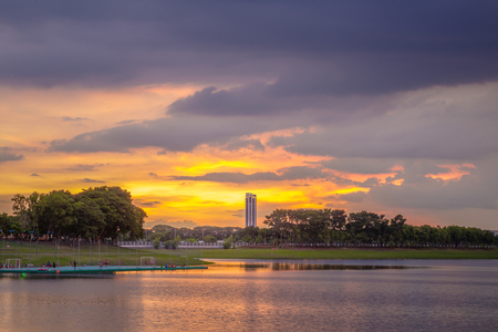 colorful cloudscape: Sunset with  colorful cloudscape over the lake in evening