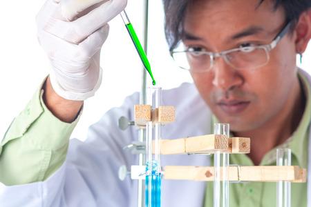 test glass: Scientist exam test tube on white background