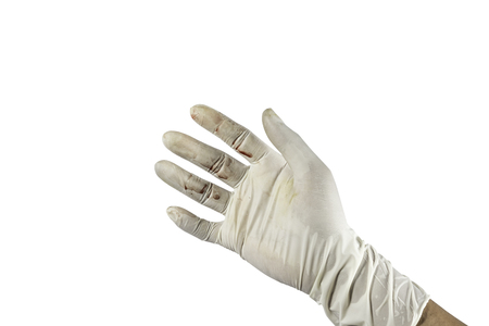 clean artery: Blood on hand in rubber glove isolated white background